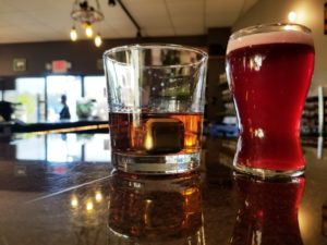 Wages Brewing Company, Spirits and beer in glasses.